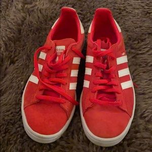 Red adidas campus sneakers size 7
